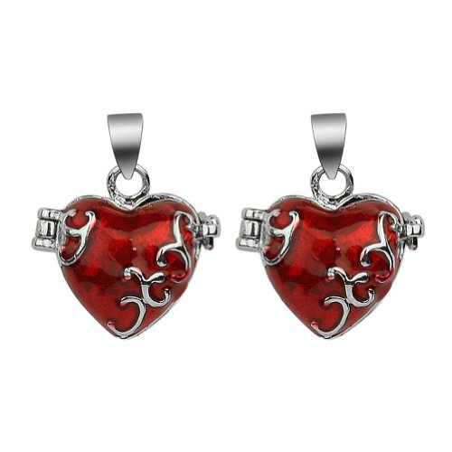 Refaxi 2pcs Red Love Heart Picture Frame Lockets Charms Pendants for Necklace Making
