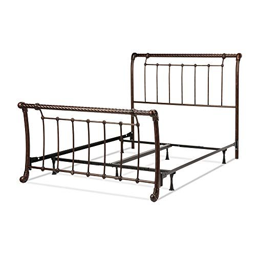 Leggett & Platt Legion Complete Metal Bed and Steel Support Frame with Sleigh-Styled Panels and Twisted Rope Top Rails, Ancient Gold Finish, Queen ()