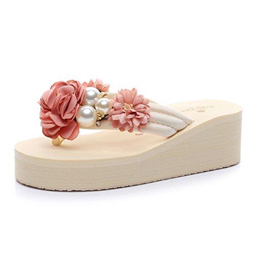 Summer Sandals Flowers Thick Flip Size Flip CKH Female Sandals Fashion Pink Slope Flops Sweet 36 Slippers Wedges Flop C4vtq