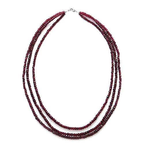 (Strand Necklace Rhodolite Garnet Triple 925 Sterling Silver Jewelry for Women Size 18
