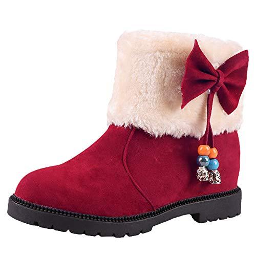(Creazrise Women's Round Toe Warm Short Booties Outdoor Suede Flat Waterproof Faux Fur Snow Boots (Black,7))
