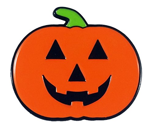 Smiling Jack'o Lantern, Happy Halloween Pumpkin Enamel -
