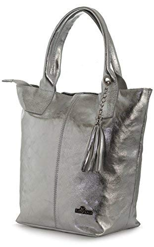 LIATALIA Womens Genuine Italian Soft Leather Large Tote Shopper Tassel and Pouch Shoulder Handbag - AURORA [Metallic - Silver]