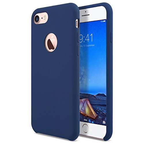 AZER iPhone 7 Case Amor Series Liquid Silicone Gel Rubber Shockproof Case with Soft Microfiber Cloth for iPhone 7 (4.7 inches) - Dark Blue (Dark Rubber Blue Rubber)