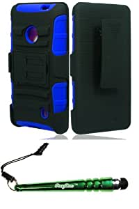 Nokia 521 Lumia (T-Mobile) Hybrid H Stand w Holster Blue Case Cover Protector Include FoxyCase Stylus cas couverture
