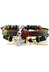 Starfish Beaded Leather Zen Bracelet, Adjustable Drawstring, in Gift Box