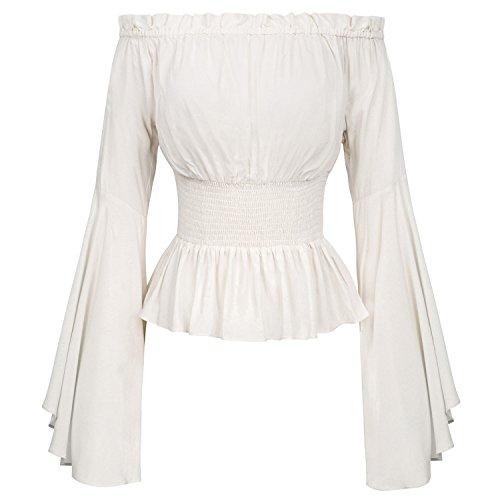 Sexy Off Shoulder Womens Tops Retro Vintage Renaissance Gothic Blouse Femme Women Victorian Long B