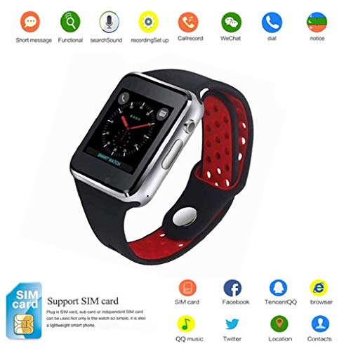 Smart Watch Kkcite Bluetooth Touch Screen Smartwatch Unlock Cell Phone Sim 2G GSM with Camera Sleep Monitor, Push Message, Anti Lost Etc for Men Women Kids (Siliver)