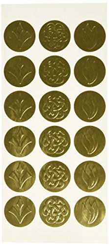 Geographics Self-Adhesive Embossed Seals, Gold, 54 per Pack (Gold Embossed Envelope)