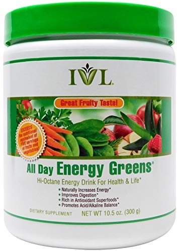 IVL - All Day Energy Greens Fruit Flavor - Hi-Octane Energy Drink For Healthy Lifestyle With Great Fruity Taste - 10.5 oz