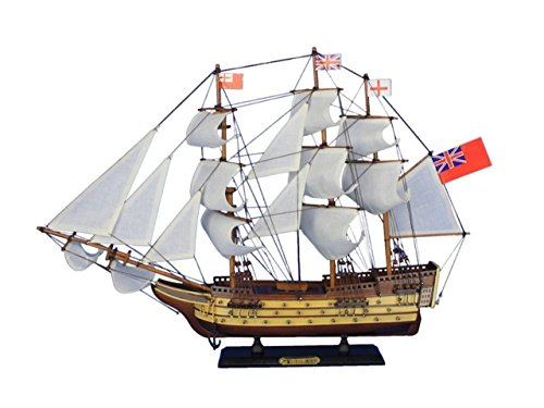 - Hampton Nautical  HMS Victory Tall Ship Wooden Model Sail Boat, 24
