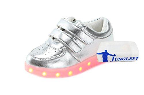 (Present:kleines Handtuch)JUNGLEST Damen Hohe Sneaker Weiß USB Aufladen LED Leuchtend Fasching Partyschuhe Sportsc c11