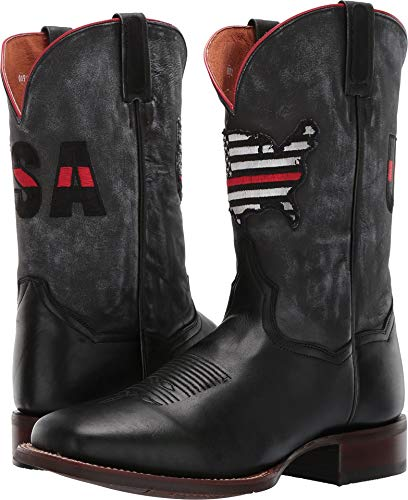 Dan Post Men's Thin Red Line Black/Grey Leather 10 EE - Stockman Collection Toe