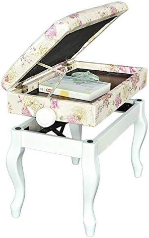 キーボード椅子 プリント本棚ソリッドウッド子供ピアノチェアリフトシングルダブルピアノスツール付ストレージ ピアノスツール (色 : White-A, Size : 66x35x56cm)