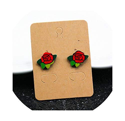 Cute Cartoon Rose Watermelon Cherry Stud Earrings For Women Creative Art Fruits Plants Earrings,3