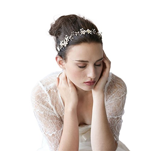 Cereoth Silver Bridal Headband With Pearls Butterfly - Impressions Bridal Gowns