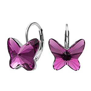 EleQueen 925 Sterling Silver Butterfly Love Hoop Huggie Stud Earrings Purple Made with Swarovski Crystals