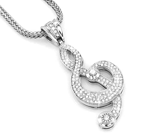 Hip-Hop Bling Silver Tone Music Note G-Clef Cross Pendant with 30
