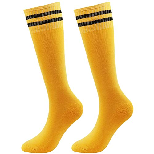 Cotton Striped Sport Socks - Kids Baseball Socks, Athletic Team Sport Socks for Boys Girls Non Slip Cushioned Stripe Socks saillsen Soccer Football Volleyball Rugby Tube Socks, 2 Pairs