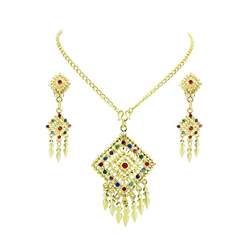 [Siwalai Thai Traditional Gold Plated Multicolor Crystals Necklace Earrings Jewelry Set (Kids) 16