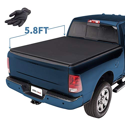 YITAMOTOR Soft Tri-Fold Truck Bed Tonneau Cover Compatible with 2009-2018 Dodge Ram 1500 | 2019 Classic ONLY Without Ram Box, Fleetside 5.8 ft Pickup Cargo Bed Waterproof