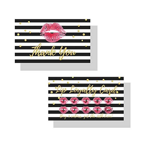 Lip Loyalty LipSense by SeneGence Cards | 50 Pack | Buy 9 get the 10th one free! | Matches How To Apply Tips and Tricks Cards | Red Lips Gold Dot Pattern Design ()