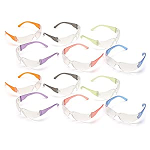 Pyramex S4110SMP Intruder Safety Glasses (12 Pack), Clear Lens with Assorted Temple Colors