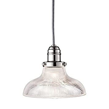 Vintage Collection 1-Light Pendant – Polished Nickel Finish with Clear Glass Shade