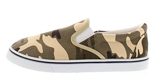 Or Toe Mens Doug Mémoire Mousse Toile Chaussures Casual Slip Sur Espadrilles Sans Lacets Mocassins Skate Deck Plimsolls Camo