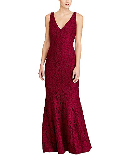 LAUREN RALPH LAUREN Lace V-Neck Floor-Length Gown (Antique Ruby, 16)
