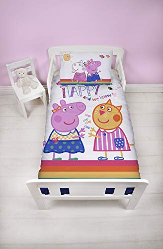 (Peppa Pig Hooray Junior Toddler Cotbed Duvet Cover Set with Matching Pillow Case Rainbow White Design, Polyester-Cotton, Pink, Single)
