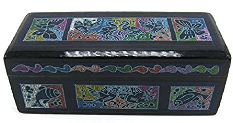 Rectangular Medium Large Olinala Hand Painted Carved Incised Chest Lacquerware Wooden Jewelry Trinket Stash Box Crafted in Guerrero Mexico (Bright - Hand Painted Wooden Box