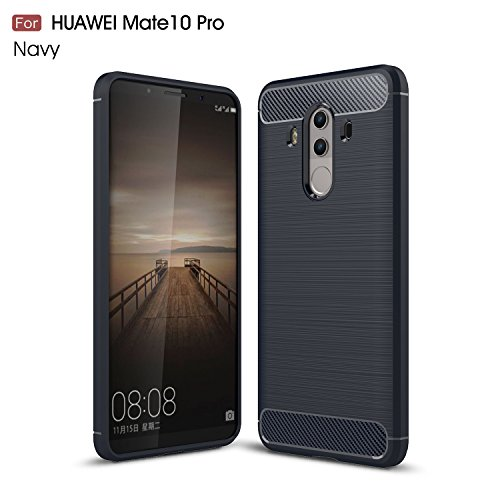 Price comparison product image Mate 10 Pro Case, DAMONDY Brushed Armor Resilient Shock Absorption Carbon Fiber [Wiredrawing Series][SOFT] Full Protection Phone Case for Huawei Mate 10 Pro-Navy