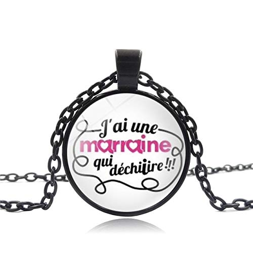 Davitu Hot Wholesale Glass Can be a Personalized Custom Wholesale Glass Jewelry Handmade Merci Maitresse Necklace Pendant Chain Metal Color: Black