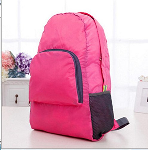 BUSL Hombres y mujeres de viaje plegable mochila deportes montañismo al aire libre impermeables mochila . black rose red