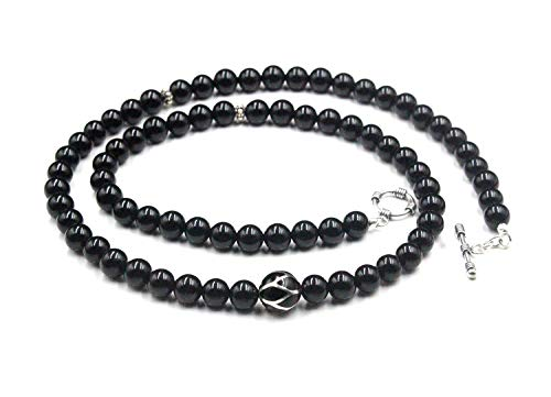 Men's Onyx Necklace, Black Onyx and Sterling Silver Necklace