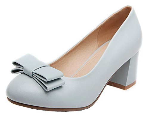 Women's Round Blue Solid Pu On WeenFashion Heels Closed Pumps Kitten Pull Shoes Toe fwdHnx7qI