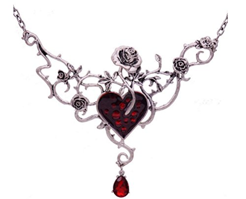 SunIfSnow Women Halloween Retro Red Heart Crystal Pendent Rose Collar Necklace Set