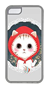 iPhone 5C Case, Customized Protective Soft TPU Clear Case for iphone 5C - Cat With Redhat Cover by runtopwell