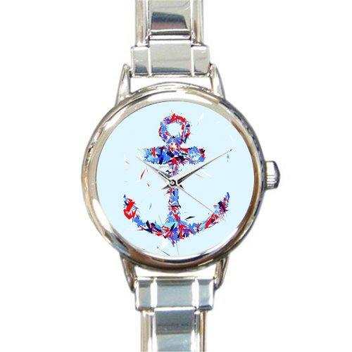 Christmas Day Gift Beautiful Nautical Anchor Art Round Italian Charm stainless steel Watch
