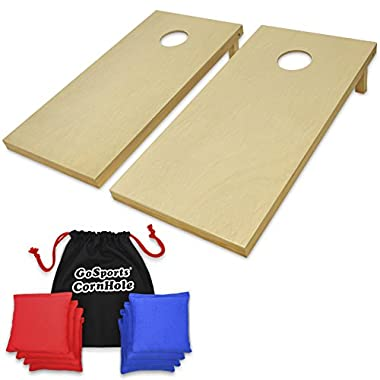GoSports Regulation Size Wooden CornHole Set Includes 8 Premium Bags, Wood/Natural