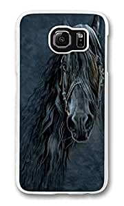 S6 Case, Galaxy S6 Case, Scratch Resistant Hard Bumper Case for Samsung Galaxy S6 Forever Friesian Horse white Hard Case for Samsung Galaxy S6