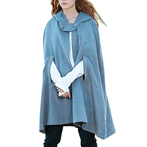 ZSBAYU Women Trench Coat, Gothic Hooded Open Front Poncho Cape Coat Outwear Jacket Cloak Warm Batwing Wool Poncho Jacket Light Blue
