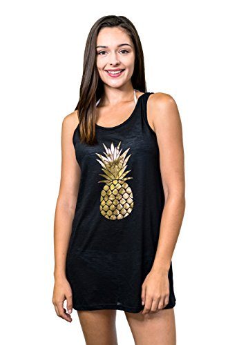 2eac2db218 MIKEN CLOTHING Junior s Gold FOIL Pineapple Double X Back Tank Swim Cover UP