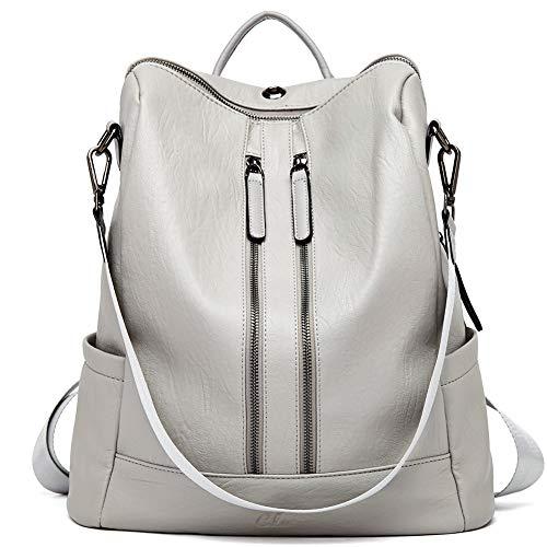 Women Backpack Purse Leather Fashion Travel Casual Detachable Ladies Shoulder Bag Gray (Ladies Handbags Backpack)