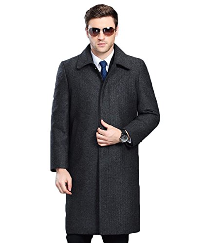 Tongzemeng Men Long Wool Fashion Turn-down Collar Single Breasted Comfortable Coat XXXL Dark Grey (Slutty Sailor)