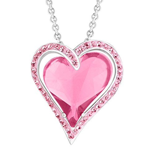 Crystaluxe Double Heart Pendant Necklace with Rose Swarovski Crystals in Sterling Silver, 18