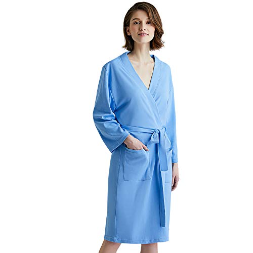 obe for Women with 3/4 Sleeves, Lightweight Cotton Short Robe Ladies Longewear for SPA Bathing Wedding … Marina Blue ()