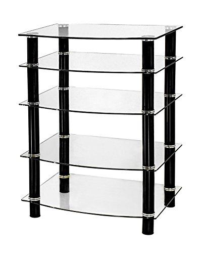 Naomi Home 5 Tier Glass AV Component Media Stand (Tempered Glass Media)