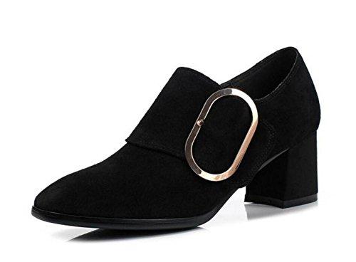 Formato 35To42 Black genuino da Block Scarpe donna Suede Mocassini Heel e Pompa Ufficio Ballerina carriera t7qO6w